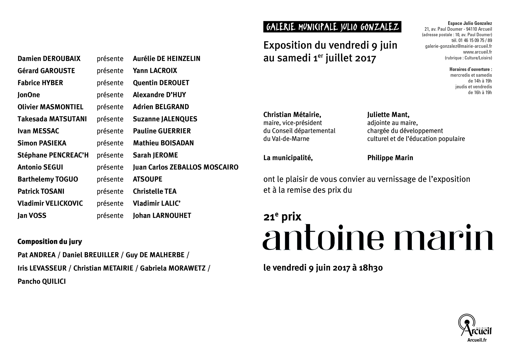 21ème prix ANTOINE MARIN