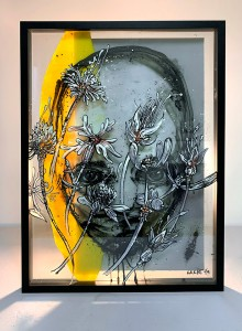 01. Face in flowers ink and offset color on plexiglass 50x70cm 2019