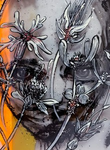 02. Face in flowers (detail) ink and offset color on plexiglass 50x70cm 2019