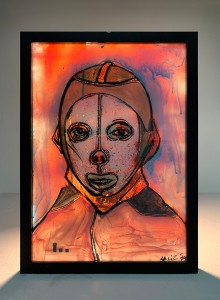 32. Face with a mask (back light) ink and acrylic on plexiglass 25x35cm 2019