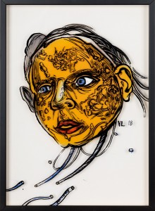 36. Yellow head ink, acrylic and offset color on plexiglass 25x35cm 2018