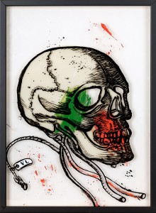 37. Skull I ink, acrylic and offset color on plexiglass 25x35cm 2018