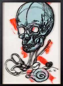 38. Skull II ink, acrylic and offset color on plexiglass 25x35cm 2018