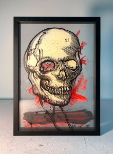 39. Skull and tree ink, acrylic and offset color on plexiglass 25x35cm 2020